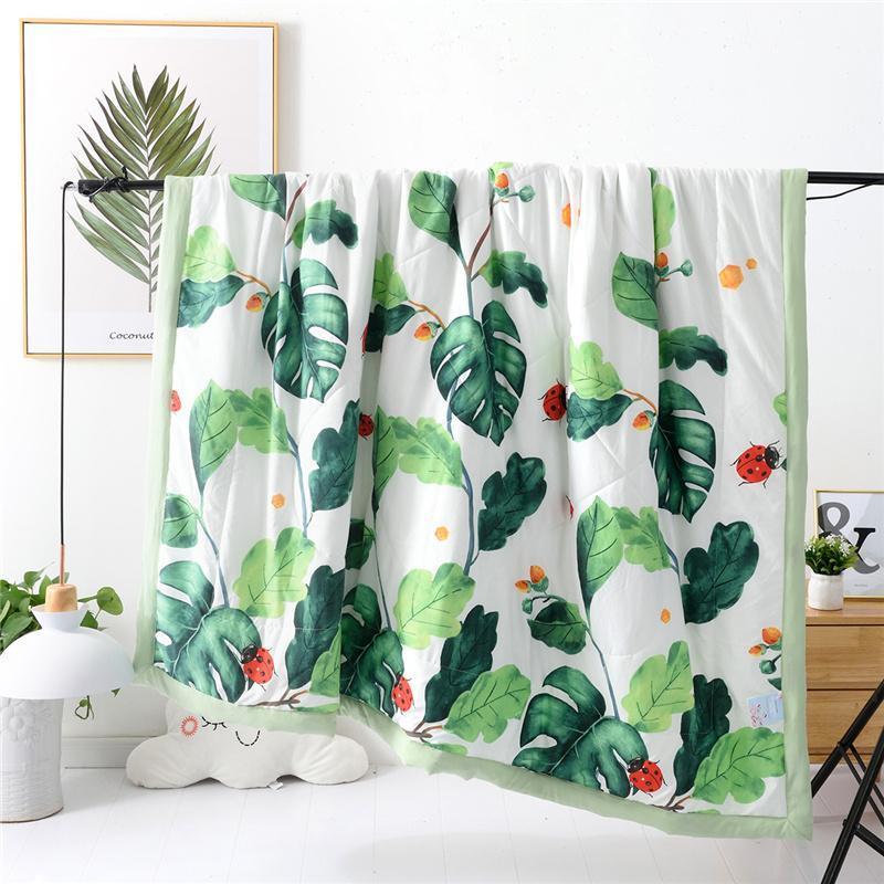 Bettdecken setzt dünne weiche Baumwollsommer-Klimatisierungs-Quilt Lightweight Home Travel Comerer Blumenpflanze waschbare Abdeckungsdecke