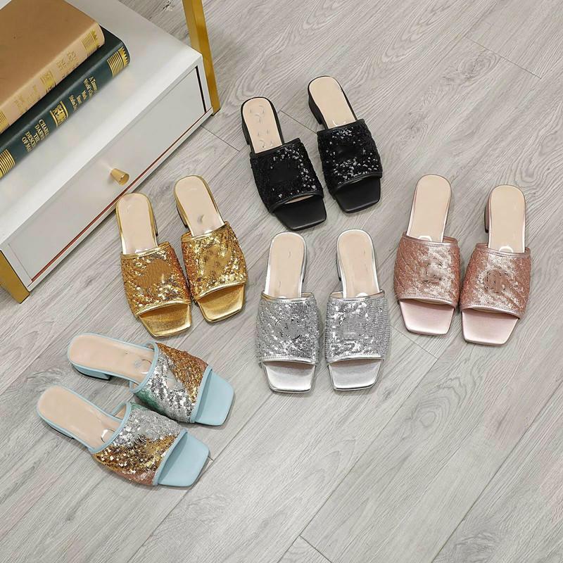 2021 verão design de luxo sapatos femininos moda desgaste externo desgaste chinelos plataforma antiderrapante glitter glitter sandálias de lantejoulas casamento sexy