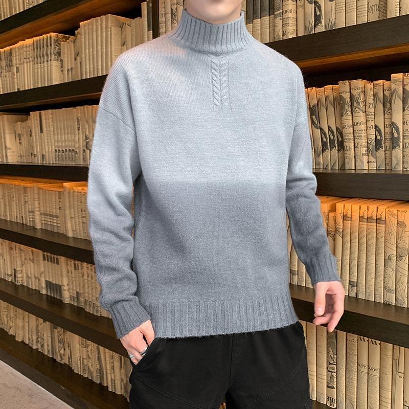 Gradiente medio tortuga suéter autumnwinter hombres un suéter de punto High Street Hip-hop simple cómodo cómodo cálido