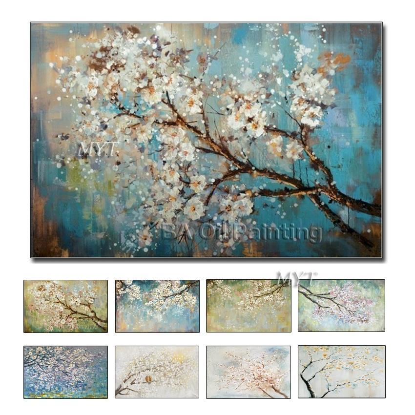 Dipingi da ampio single canvas 100% fiori dipinti a mano albero astratto morden pittura a olio su ca nvas immagini di arte 210310