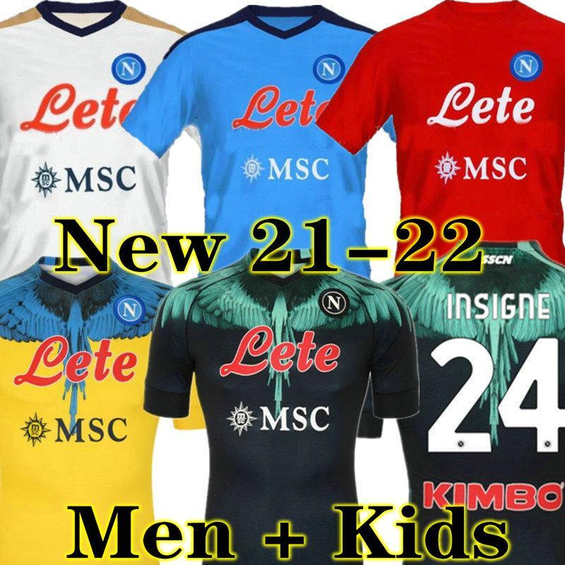 Maradona 21 22 Napoli Soccer Jersey Naples Chemise de football 2021 2022 Koulibaly Camiseta de Fútbol Insigne Maillot Pied Mertens Camisa