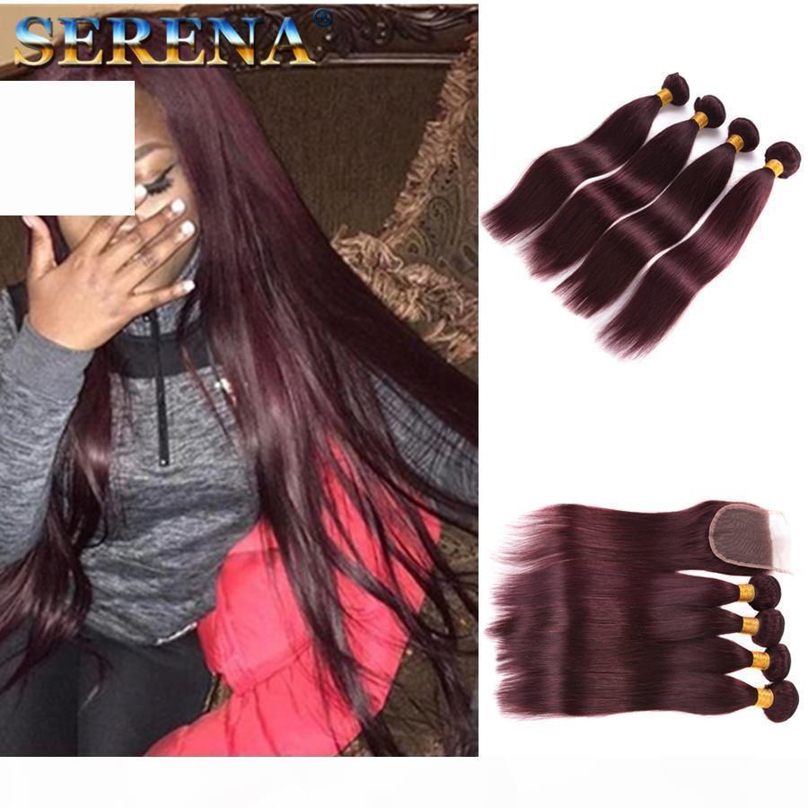Mink Mongolian Virgin Hair Com Fechamento Pacotes de Cabelo Humano Straight com Weaves Encerramento 5 PCS 99J Pacotes de Cabelo Vermelho com Pacotes de Fechamento de Laço