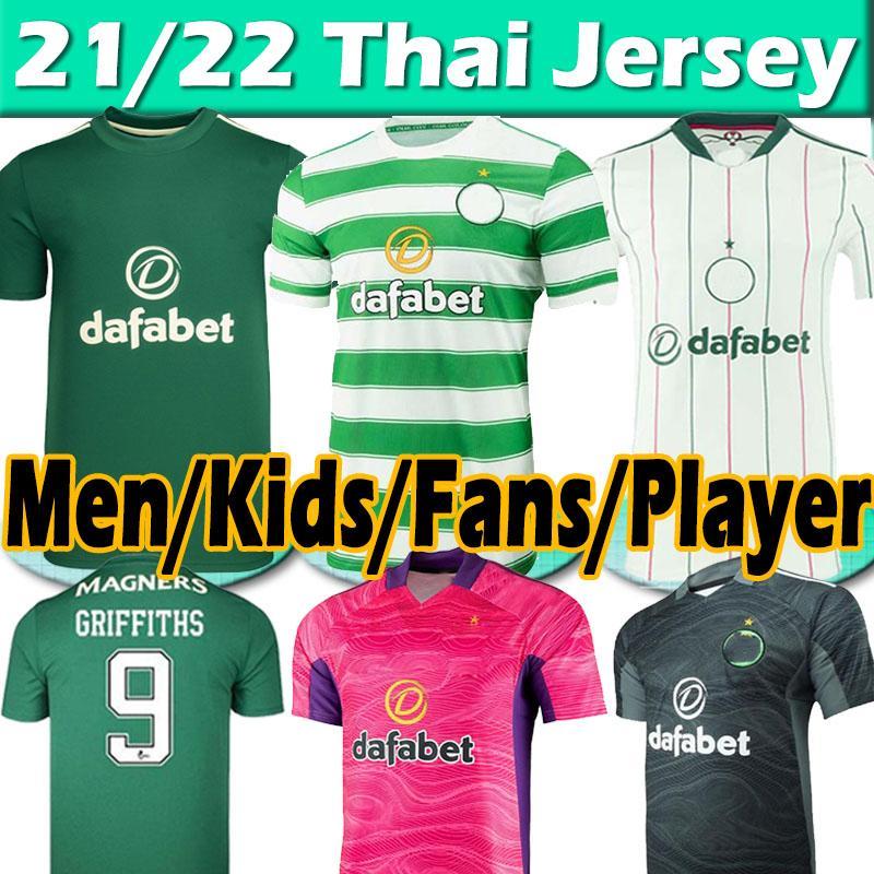 21/22 Celtic Soccer Jerseys Jerseys Player Version Jersey McGregor Griffiths 2021 2022 Duffy Forrest Christie Edouard Turnbull Hommes Kit Kit de football