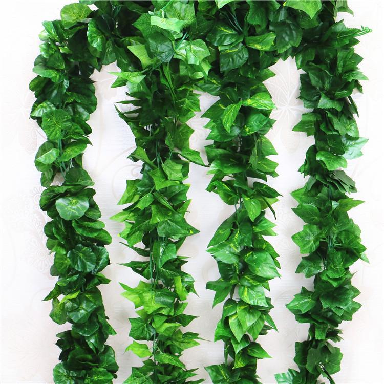 90 Blätter 2,3 m Künstliche grüne Traube Blätter anderer Boston-Efeu-Weinreben verzierten gefälschten Blumenrohrgroßhandel