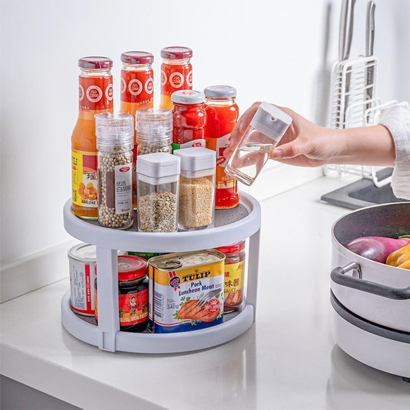 Küchenlagerorganisation est Ankunft drehbar doppelschichtiger Rack Haushalt Großraum Anti Slip Küchenutensilien Organizer