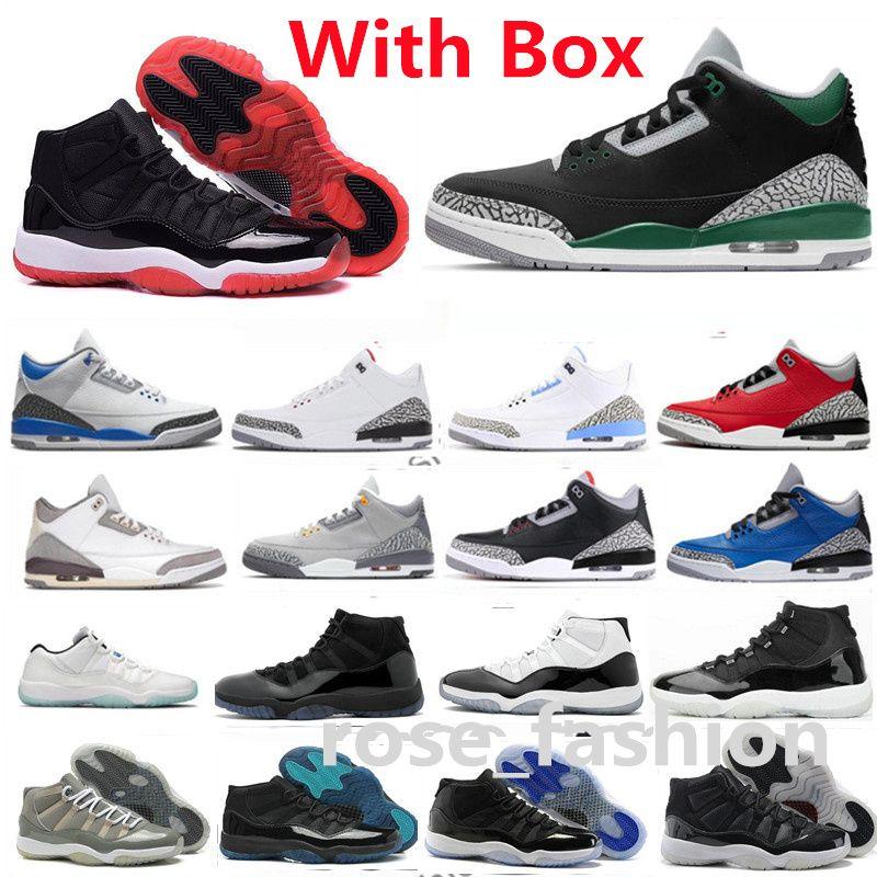 Con el recuadro 11 Cool Grey Bred Low IE Concord Jubilee Shoes de baloncesto 3s Pine Green Racer Black Black Blanco Cemento UNC 11S Espacio Jam Legend Gym Red Chicago Gamma Entrenadores