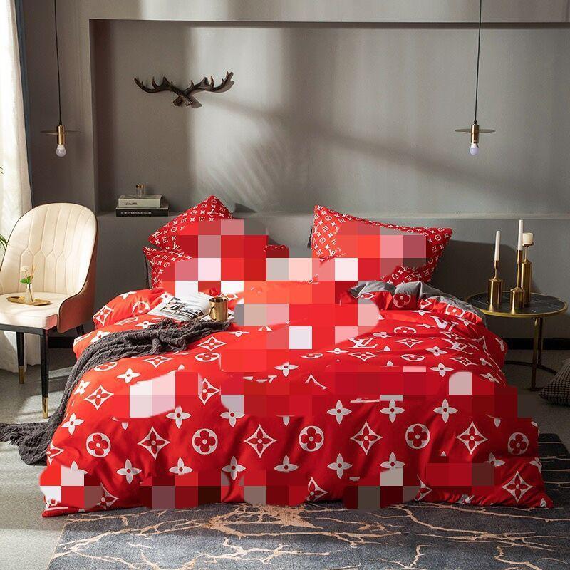 Conjuntos de roupa de cama vermelha conjuntos de edredão capa rainha king size designer cama seda moderna duveta capa folha fronha