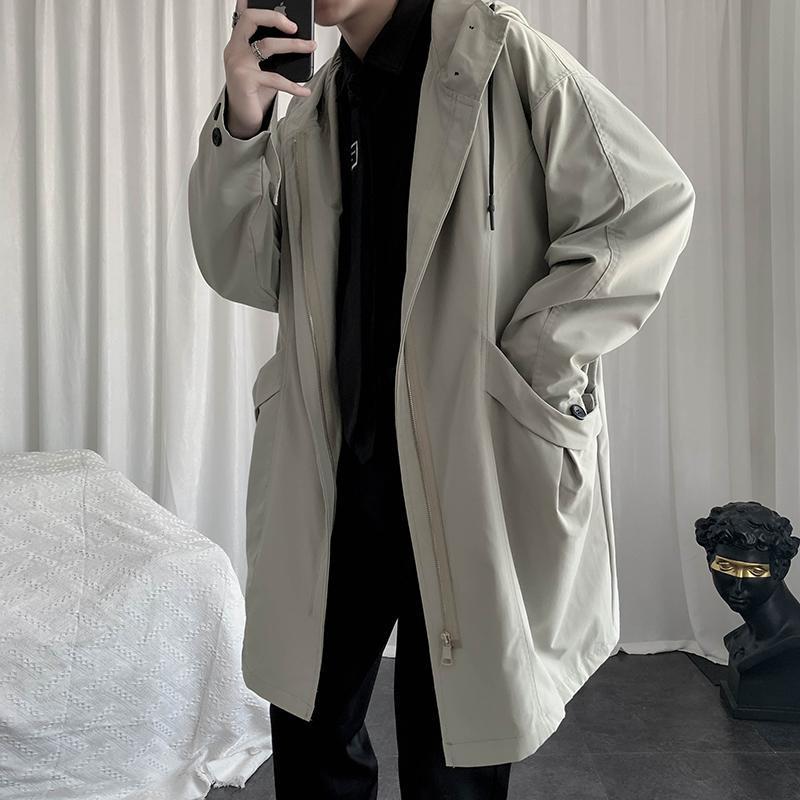 İlkbahar ve Sonbahar erkek Orta Uzunlukta Rüzgarlık Kore Rahat Moda Gevşek Harajuku Streetwear Katı Renk Büyük Pockets Siper
