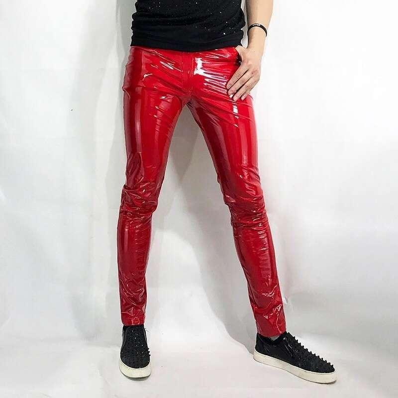 Heiße sexy rote enge Stretch Herren PU-Leder gotische Mode in voller Länge Nachtclub tragen männliche Bleistift-Hosen plus Größe