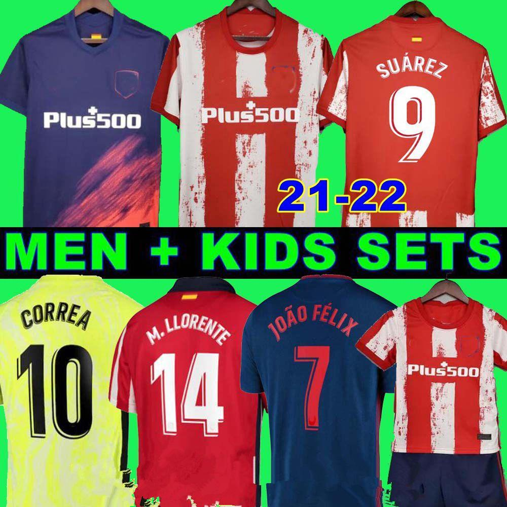 2021 2022 Atletico Suárez Madrid Home Away 3rd Soccer Jerseys Kits 2020 2021 Camisetas de Fútbol Joao Felix Compoto