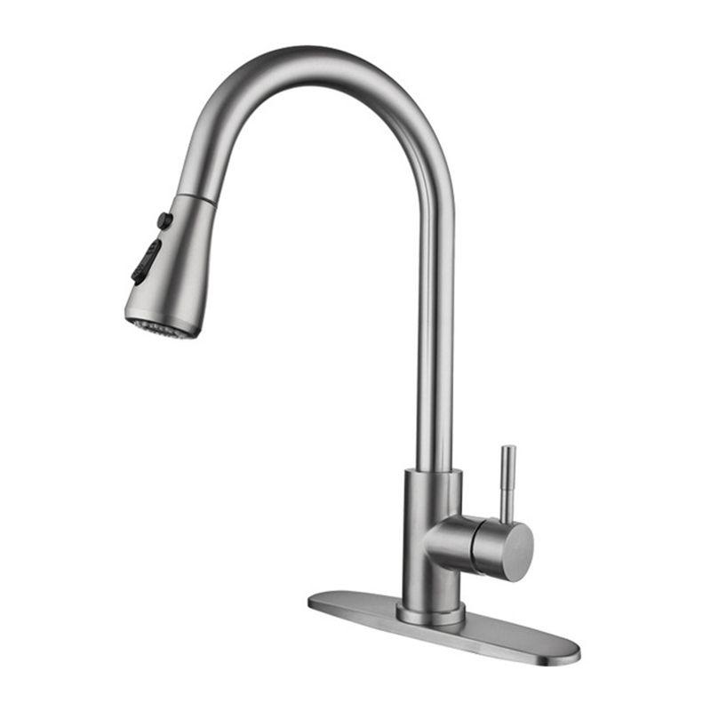 Hohe Bogen gebürstet Ziehen Sie den Auslauf aus Sput-Küchenhahn, Edelstahl-Küchen-Waschbecken-Mischbatterie mit Pull-Down-Sprayer JK2103XB5