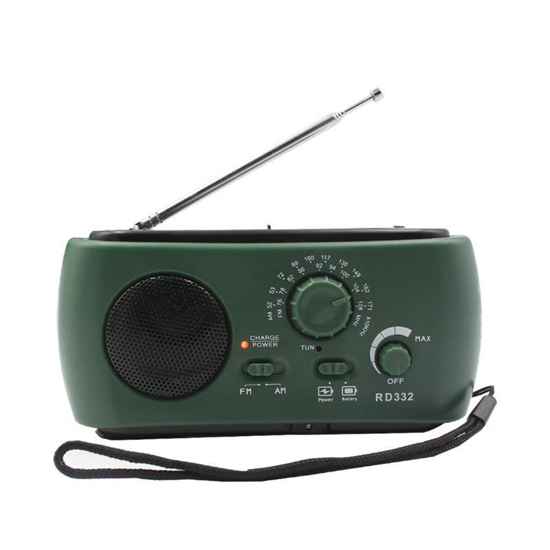 Radio Receptor Multifunción AM / FM Dynamo Radio solar Potpotible Generador de manivela Green