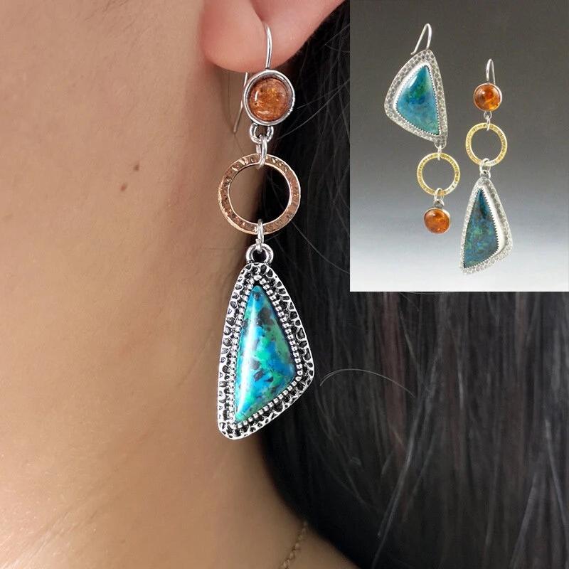 Schöne frauen Vintage Smaragd asymmetrische Ohrringe klassisches geometrisches Dreieck Bernstein-Türkis-Ohrringe- # 1home Freizeit