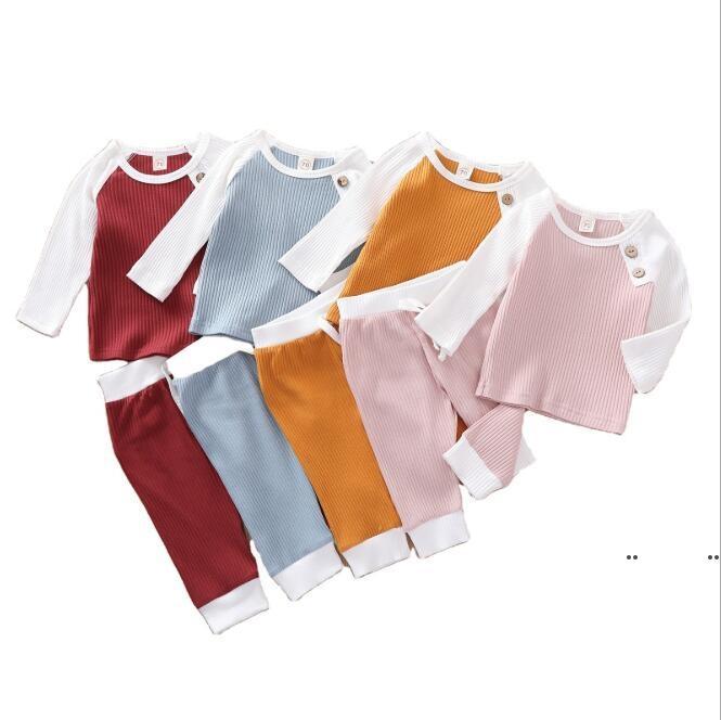 Kinder Kleidung Mädchen Süßigkeiten Farbe Pyjamas Sets Jungen Sommer Lässige Nachtwäsche Baumwolle Kurzarm Tops Shorts Hosen Schlafanzüge FWE4905