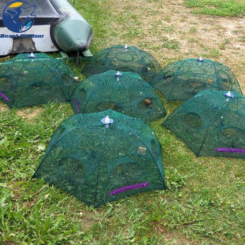 Dobrado portátil 20 furos de pesca rede líquida de carcaça lagosta lagostfish camarão minnow caranguejo iscas armadilha de gaiolas malha mosqueta nets china