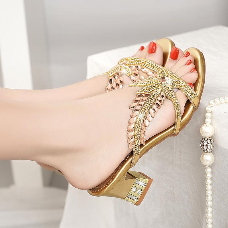 Сандалии носить 2021 хрустальный средний каблук натуральная кожа женские горный хрусталь летняя обувь