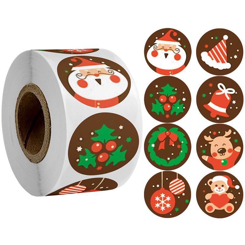 Adesivos de Natal Creative Cartoon Presente Envoltório Decoração Adesivo Feriado Cartão Envelope Envelope Ornamentos Suprimentos 500pcs / Rolo
