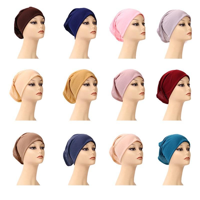 Мусульманские женщины Внутреннее Hijab Headscarf Cap Cap Islamic Modal Caperf Hats Hot Ninja Carrf Ramadan Растягивающие хлопковые капоты Caps A772 319 U2