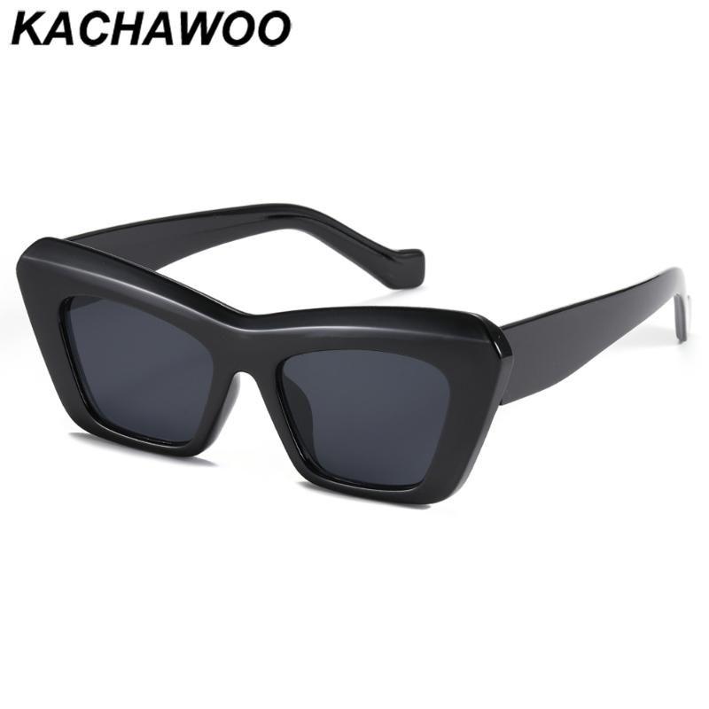Солнцезащитные очки Kachawoo Урожай Женщины Cat Eye Большой Рама Дамы Мода Очки Аксессуары Женские Трендальные Оттенки Черный Леопард