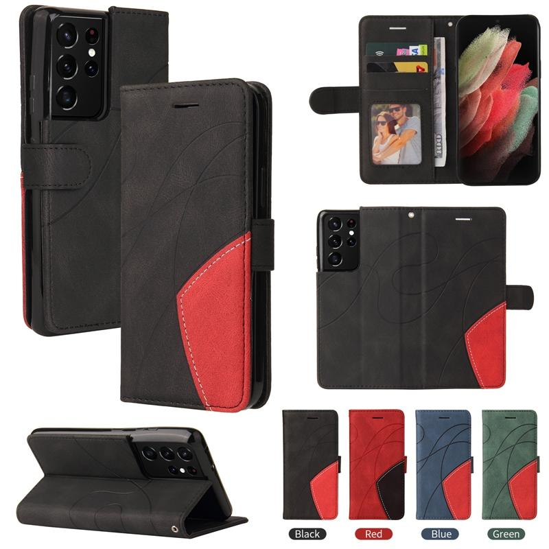 Abstract Contrast Color Flip Cover Cases For LG Sytlo 7 6 K52 K42 K92 K22 Huawei P50 Pro Moto G9 Play Plus A51 A71 5G Leather Wallet Line Holder Hybrid ID Card Slot Strap