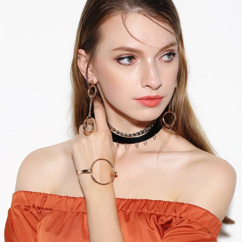 Takı Moda Trendy Kadınlar Geometrik Özgürlük Yeni Eleman Metal Yüzük Kolye Seti X0057