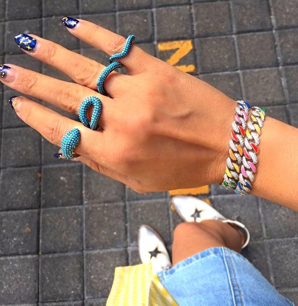 Été Chaud Selling Bijoux coloré Néon Rainbow Enamel Ice Out CZ 11mm Miami Miami Cuban Link Chain Chaîne Femme Bracelet