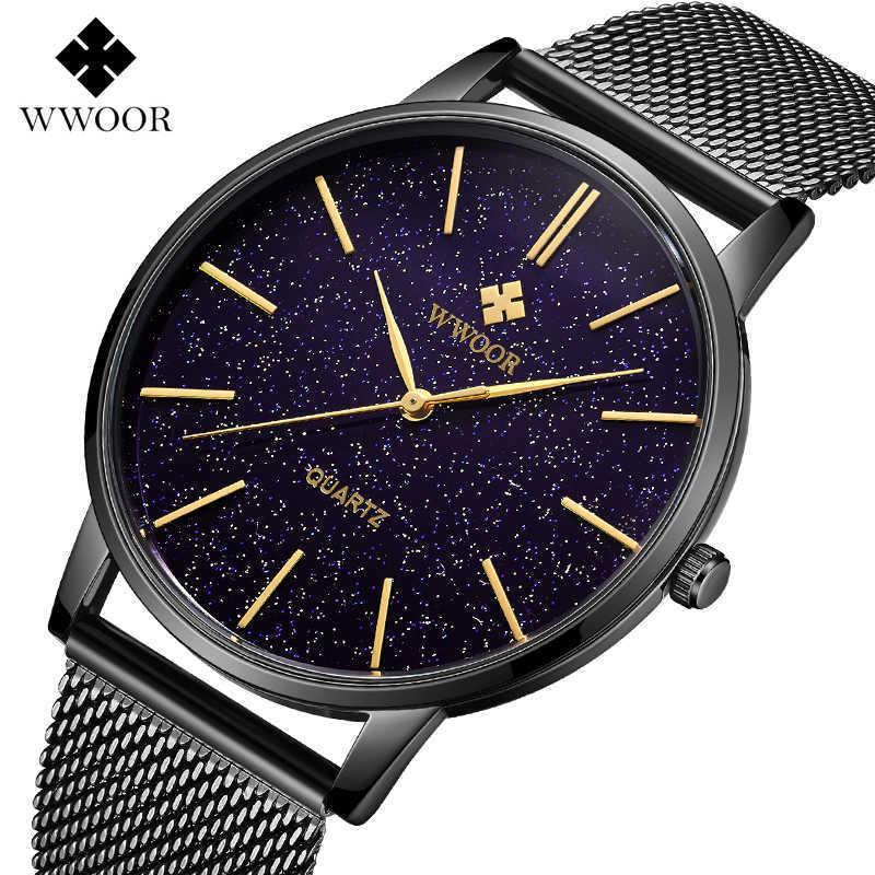 Reloj hombre wwoor uhr für männer luxus züge quarz herrenuhren wasserdichte stahlband band business armband watch mann uhr schwarz 210603