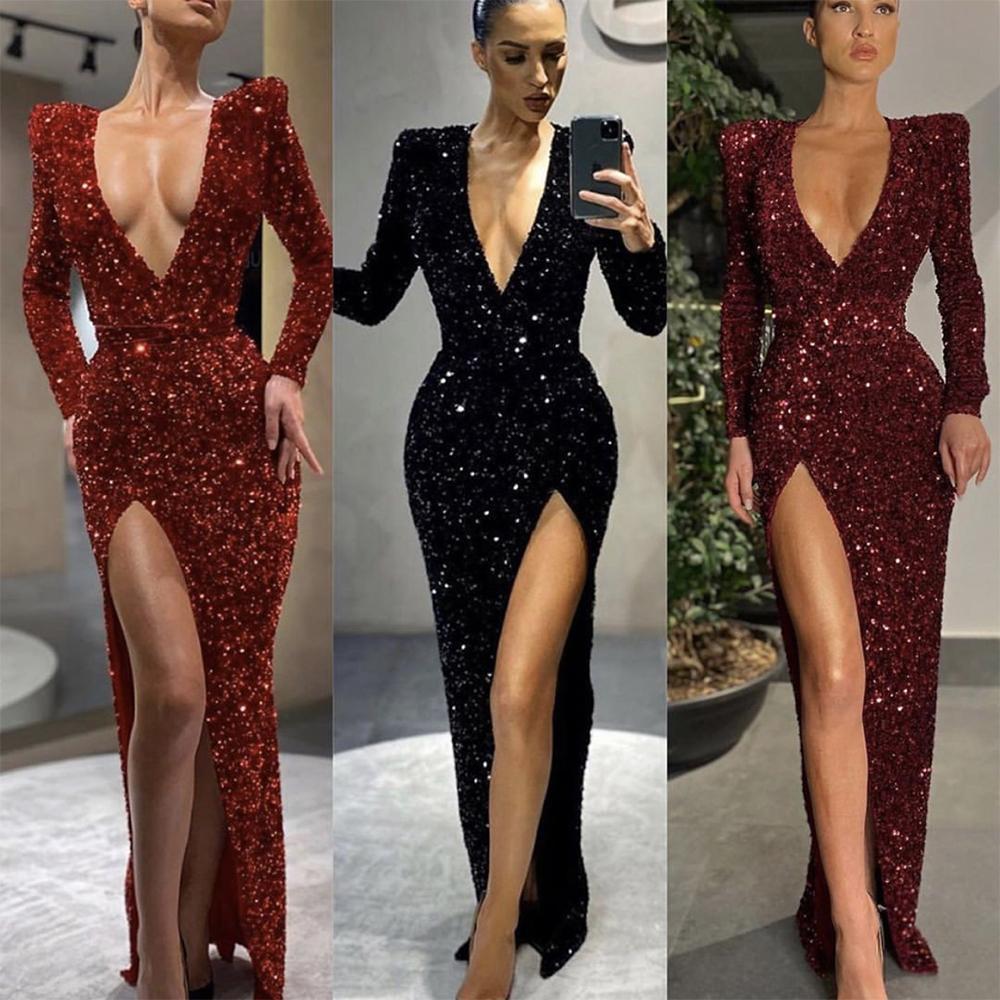 Bourgogne rouge noir gaine robe robe Deep V cou manches à manches longues paillettes longueur de plancher robe formelle robe de bal de bal de promesse usure robe de soree