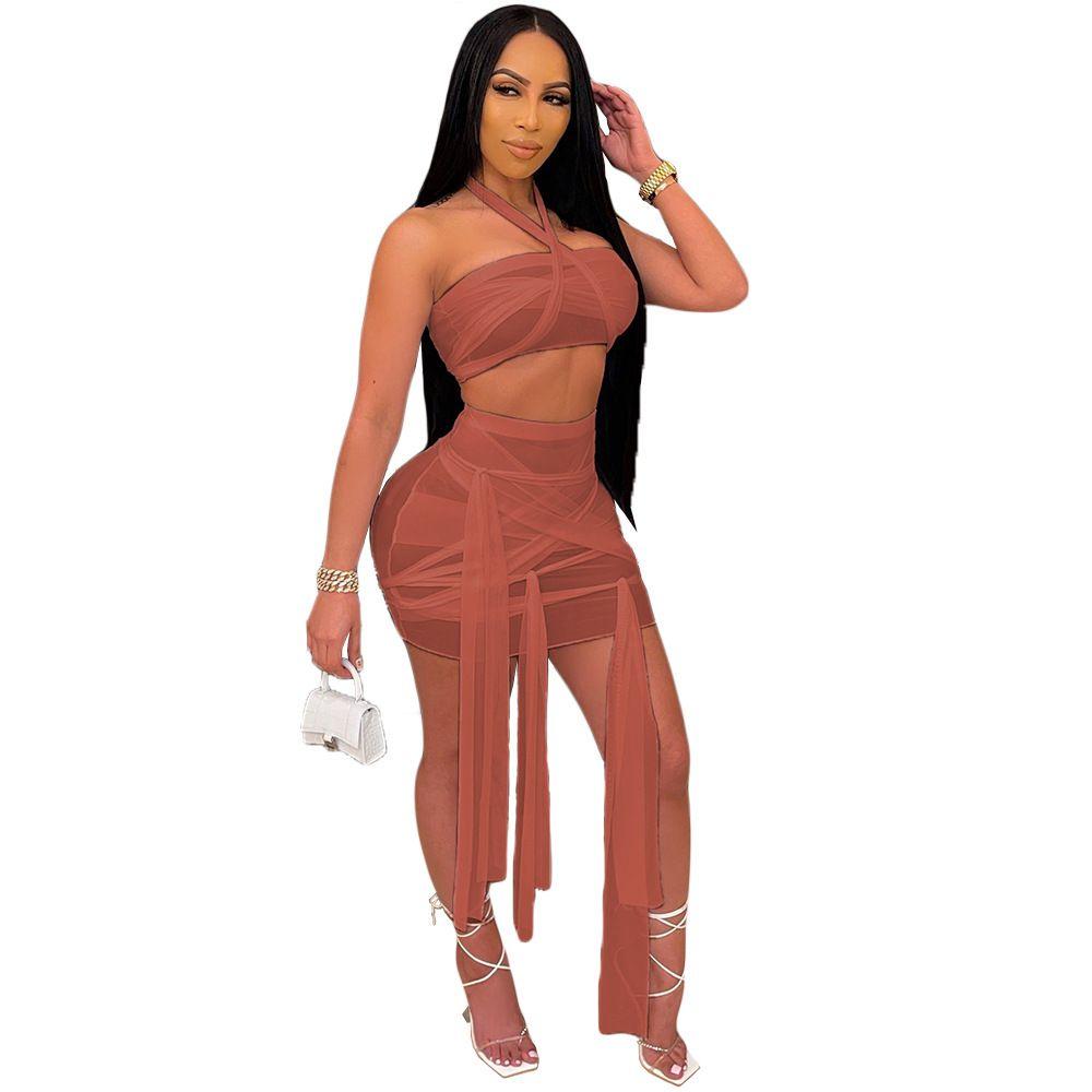 Nachtclub Kleid 9215 Sommer Womens BH Miniskirt Anzug Unregelmäßiger Bandage Münze Perspektive Sexy Sexy Frauen Kleid