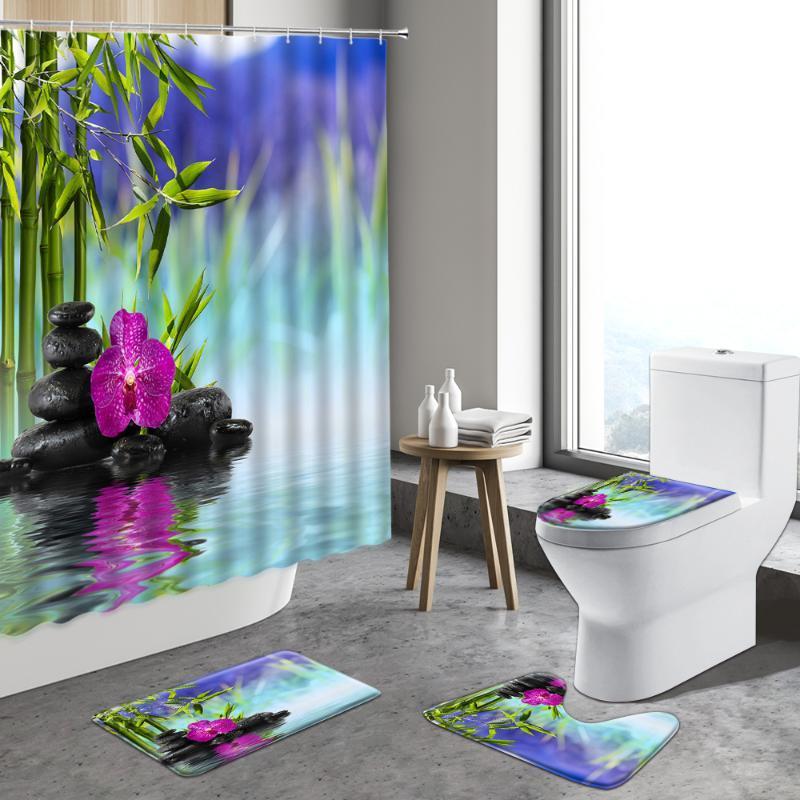 Duschvorhänge Zens Vorhang grün Bambus Zen Blume Dekor Orchidee Holz Textur Badezimmer Set Rutschfeste Teppich WC Badematten