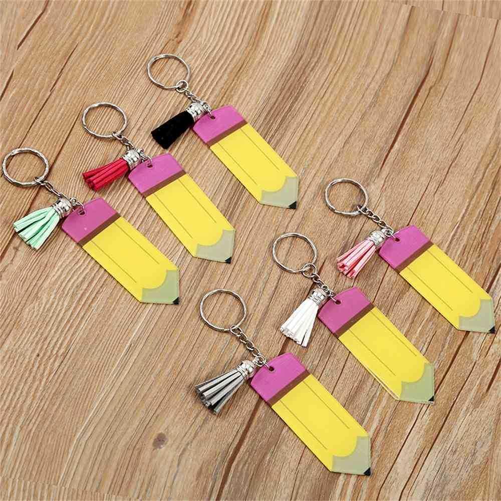 개인화 된 빈 편지 술 키 링 교사의 날 선물 연필 열쇠 고리 아크릴 키 체인 축제 장식 HWB8807