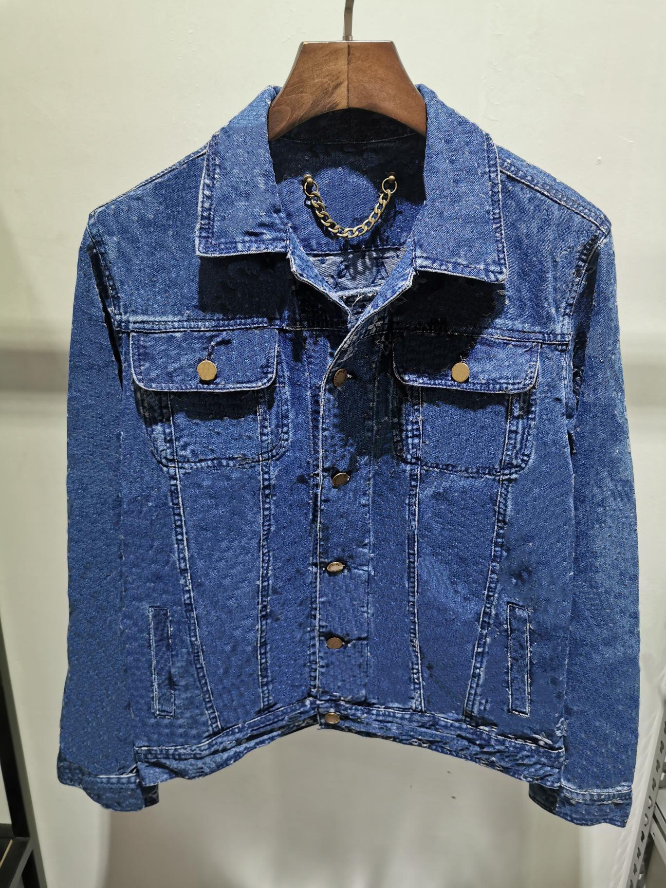 21SS Denim Jacket Mens Flower Stampa T-shirt stampata Blue Dark Jacquard Vestiti a maniche lunghe