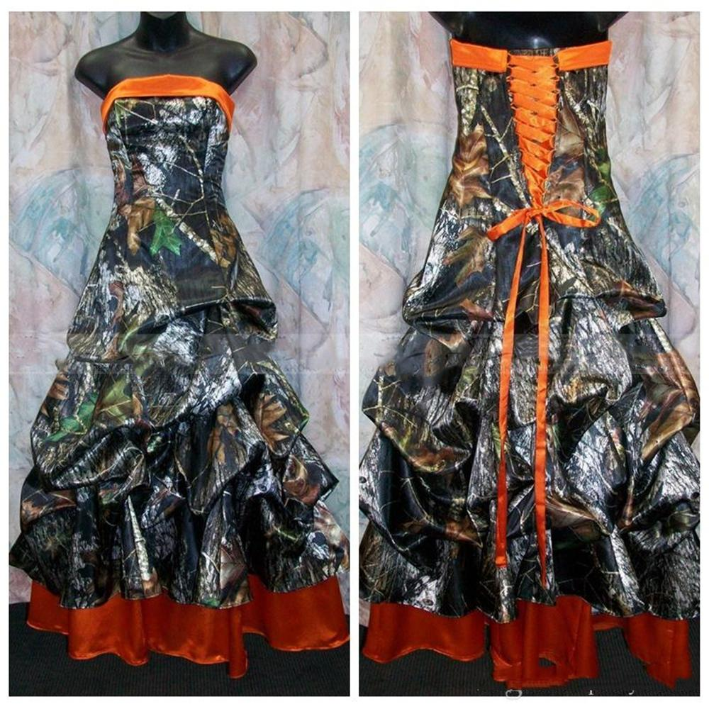 Cheap Strapless A-Line Camo Wedding Dresses Draped Lace Up Back Bridal Gowns Custom Plus Size Real Tree Long Formal Vestidos De Noiva