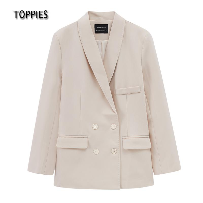 Toppies Women Suit Double Breasted Korean Fashion Suit Jacket Chic Jackets Formal Clothes Spring Autumn