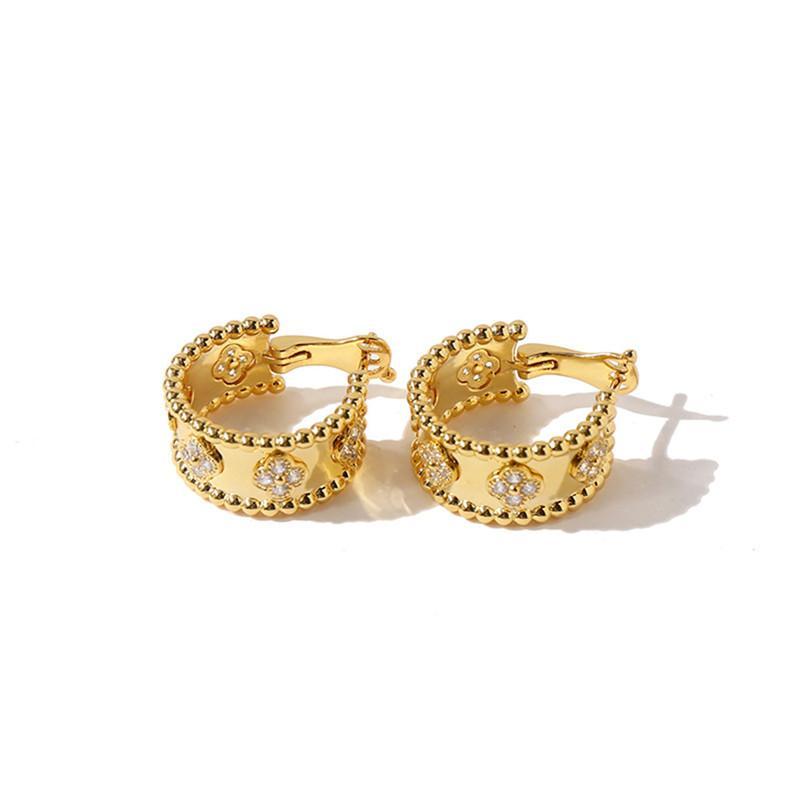 2021 Мода Classic 4 / Четыре Четыре Лист Клевер Серьги Шарм Серьги Серьги Манжеты Реальные 18K Позолоченные Алмазы Для Женщин $ Girls (С коробкой)
