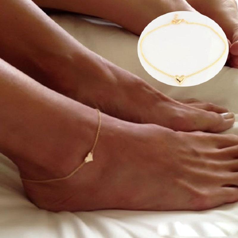 Kız Moda Basit Kalp Ayak Bileği Bilezik Zincir Plaj Ayak Sandal Nefis Takı C00021 Smad