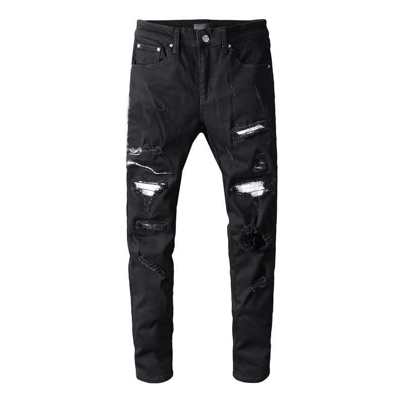 Célèbre homme jeans hommes déchiré skinny mince élastique denim ajustement motard jeans fit fit fermeture fermeture pantalon déchiré pantalon hip hop