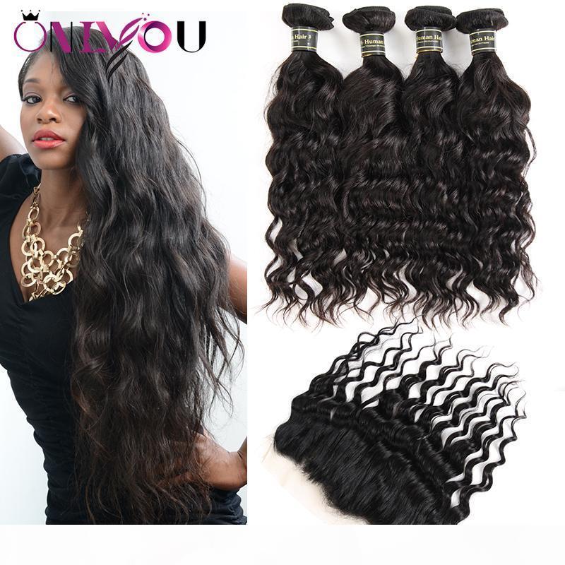 Beliebteste Nerz Brasilianisches Reines Haar Weben 4 Bündel Wasserwelle Humanhaar mit Verschluss 13x4 Spitze Frontal Bündel Ohr zu Ohr webt