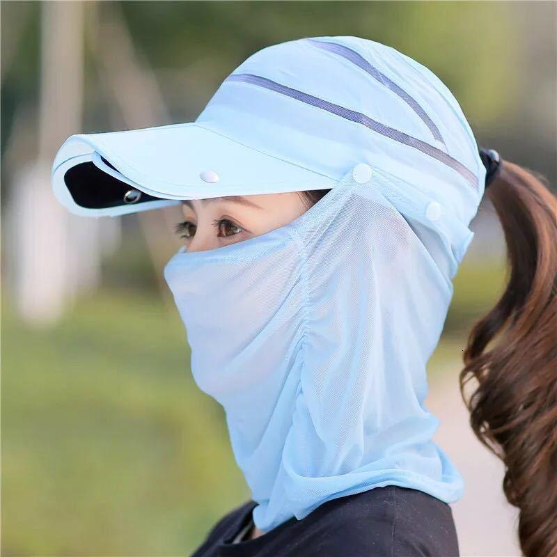 Boné de beisebol dobrável para guarda-sol Chapéu de ciclismo Véu destacável de mulheres destacáveis e proteção de pescoço