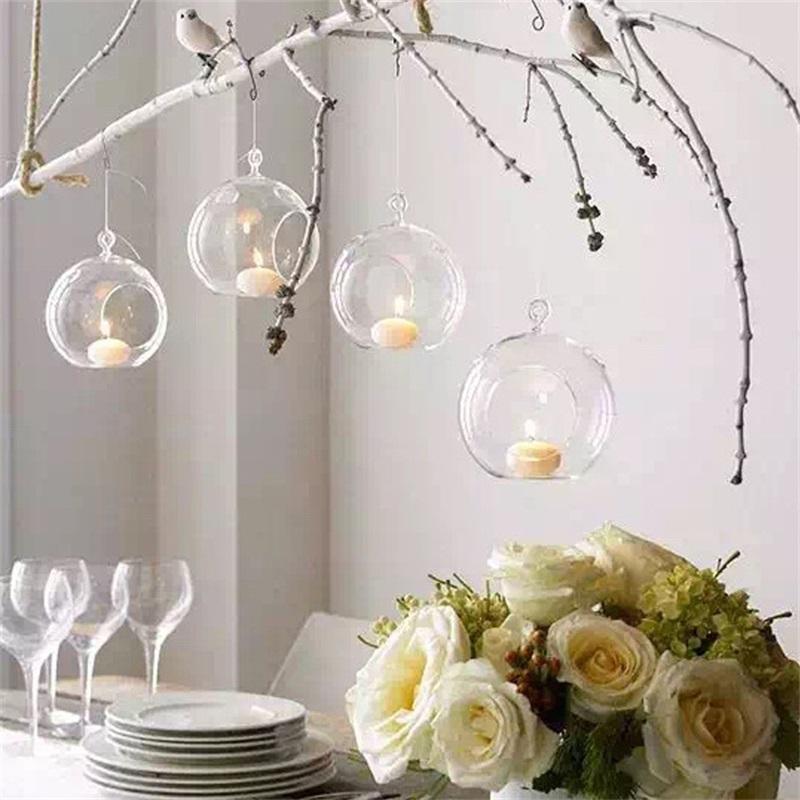 Borossilicato de vidro de cristal de vidro pendurado vela castiçal castiçal home festa de casamento jantar decoração grama castanha 172 v2