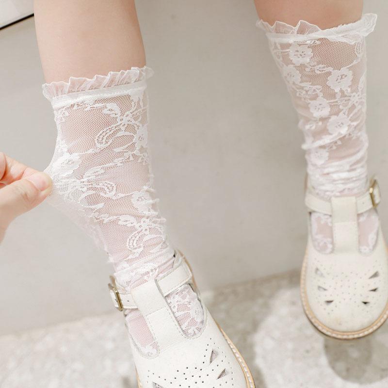 Летние детские девочки кружева вышитые носки девушки спектакль детей колено высокие носки детские кружевные рюшащие носки 4 цвета A242