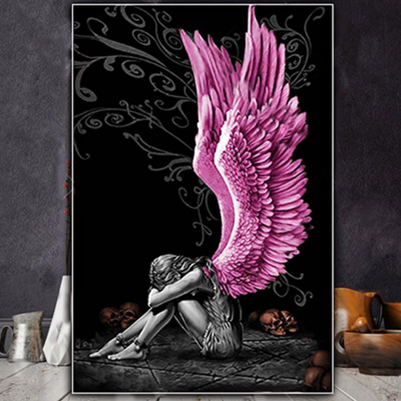 Paintings Painting By Number 40x50CM Crying Girl With Wings Figure DIY Wall Art Gift Pictures Numbers Canvas Kits Home Decoration