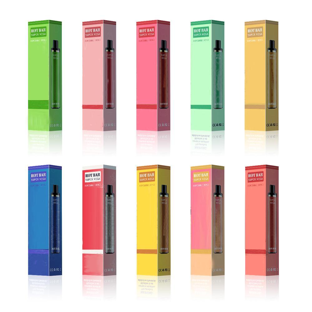 Sıcak Bar Süper Mega 3300Puffs Tek Kullanımlık Elektronik Sigara Güvenlik Kodu Vape Kalem 1300 mAh Pil ile 10 Renkler 9 ml Pod Tek Kullanımlık Cihaz Kiti Randm Dazzle Puff