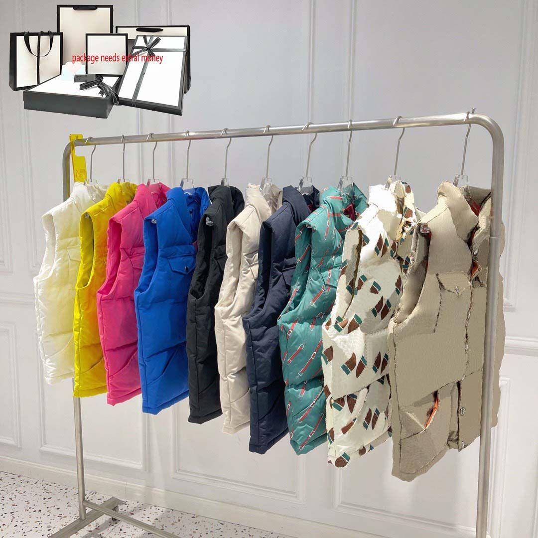 21ss Chalecos para hombre Fashion Rainbow Print Women Jacket Chaqueta Invierno Mantenga los abrigos sin mangas cálidos Carreras al aire libre Cuerda de bodywarmer Pareja Chaleco superior de calidad