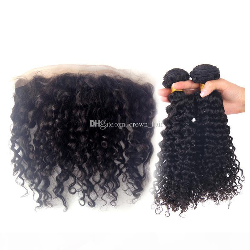 Новое поступление Глубокие вьющиеся человеческие волосы с кружева лобные пакеты волос с кружевной лобной закрытием Свободная часть волос с кружевной лобной 13x4