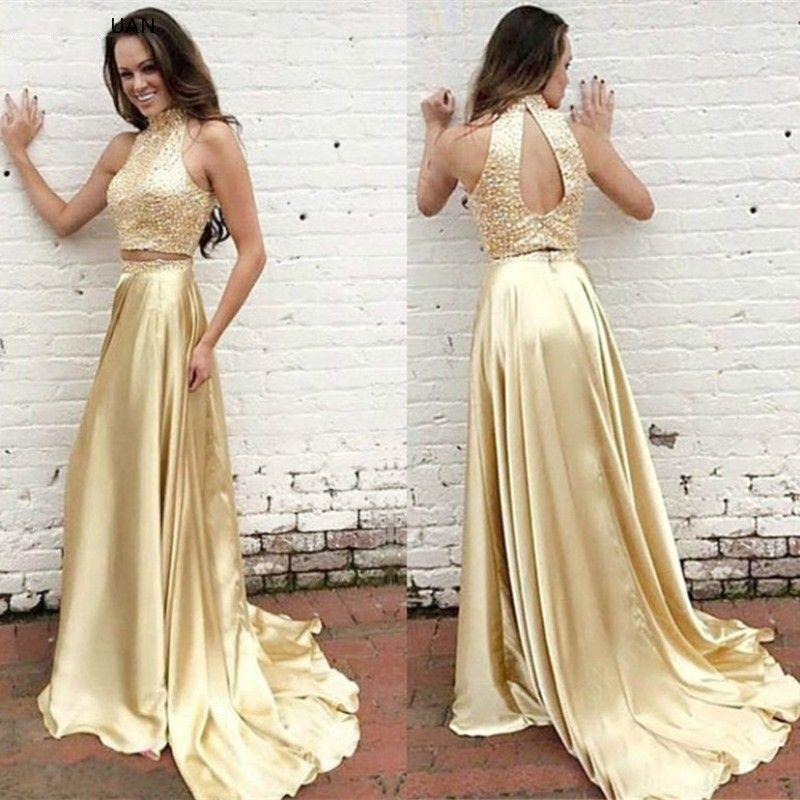 Işık Altın İki Adet Abiye Yüksek Boyun 2021 Sequins Boncuk Saten Backless Vestidos De Fiesta Largos Elegantes de Gala Balo Elbise