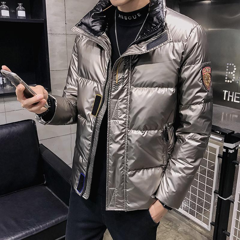 Зимняя яркая сторона вниз куртка мужская короткая мода марки 2021 новая тенденция красивый утолщенный теплый повседневный пальто