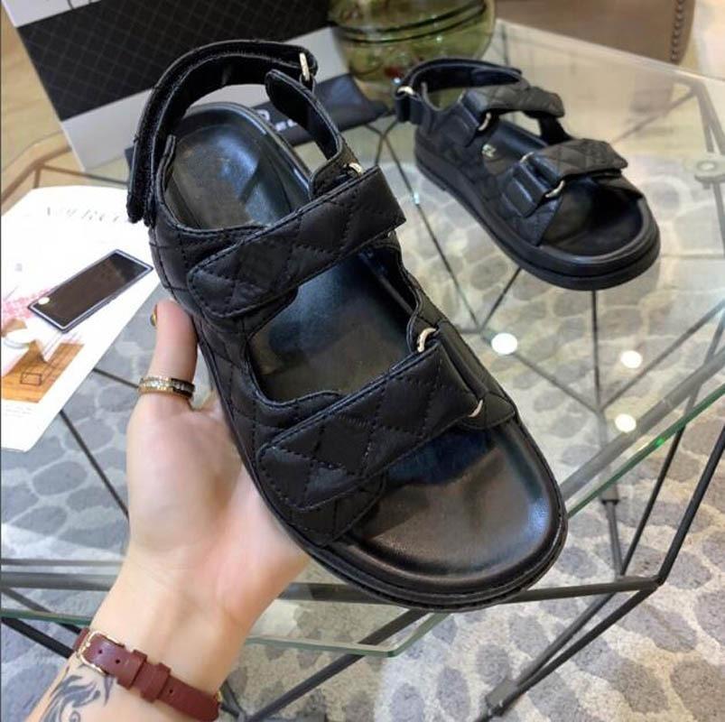 Сандалии Женские туфли Натуральная кожа Женщины Сандалии Дизайнер HookLoop Мода Обувь для Ins Black Platform