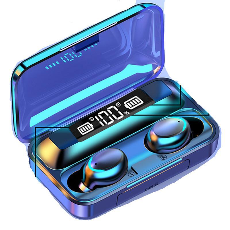 F9 TWS 블루투스 이어폰 5.0 지문 터치 헤드셋 iPhone 11 12 Samsung S20 Huawei 1200mah 2000에 대 한 헤드폰