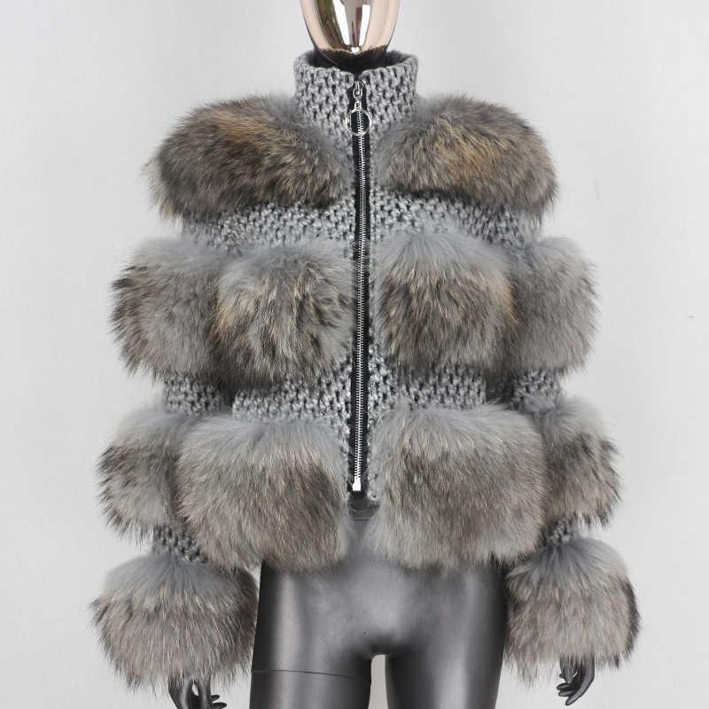 PP9ABlustenessFair 2020 Winter Jas Vrouwen Echte Bontjas Parka Natuurlijke Wasbeer Bont Wol Weven Stof Dike Warme Bovenkledin